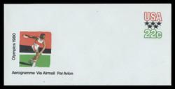 U.S. Scott # UC 52 1979 22c Olympics - Discus Thrower - Mint Air Letter Sheet