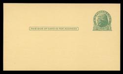 U.S. Scott # UX  27/UPSS # S37EC, 1914 1c Thomas Jefferson, green on canary - Mint Postal Card