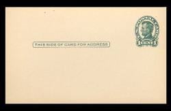 U.S. Scott # UX  28/UPSS # S40-1C, 1917 1c Abraham Lincoln, Head 1, green on cream - Mint Postal Card (See Warranty)
