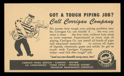 Corrigan Pipe Company Advertising Postal Card (On Scott #UX27) - Est. period of use, 1940s.