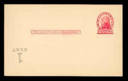 U.S. Scott # UX  33/UPSS #S45-29f, 1920 1c on 2c Thomas Jefferson (UX30), red on buff, Die 2 - Mint Postal Card Error (See Warranty)