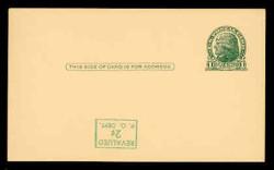 U.S. Scott # UX  39d/UPSS #S56-1f, 1952 2c on 1c Thomas Jefferson (UX27), green on buff - Mint Postal Card Error (See Warranty)