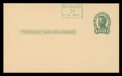 U.S. Scott # UX  40/UPSS #S58-1H2-S, 1952 2c on 1c Abraham Lincoln (UX28), green on buff, Head 2, Surcharge Shifted Up - Mint Postal Card (See Warranty)