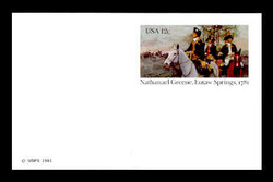 U.S. Scott # UX  90FM, 1981 12c Nathanael Greene, Eutaw Springs - Patriot Series - Mint Postal Card, FLUORESCENT (Medium Bright) PAPER (See Warra