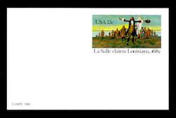 U.S. Scott # UX  95FM, 1982 13c La Salle Claims Louisiana, 1682 - Mint Postal Card, FLUORESCENT (Medium Bright) PAPER (See Warranty)
