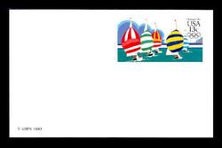 U.S. Scott # UX 100FM, 1983 13c Summer Olympics - Yachting - Mint Postal Card, FLUORESCENT (Medium Bright) PAPER (See Warranty)