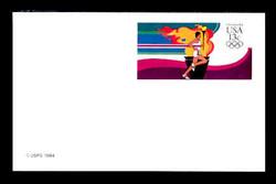U.S. Scott # UX 102FM, 1984 13c Summer Olympics - Runner Carrying Olympic Torch - Mint Postal Card, FLUORESCENT (Medium Bright) PAPER (See Warranty)