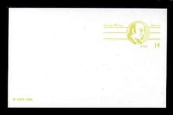U.S. Scott # UX 108FM, 1985 14c George Wythe - Patriot Series - Mint Postal Card, FLUORESCENT (Medium Bright) PAPER (See Warranty)
