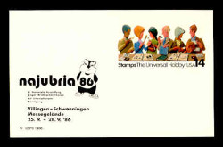 U.S. Scott # UX 110NAJFM, 1986 14c Stamp Collecting, NAJUBRIA '86 Overprint - Mint Show Logo Postal Card, FLUORESCENT (Medium Bright) PAPER (See Warranty)