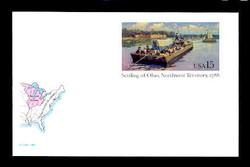 U.S. Scott # UX 124FM, 1988 15c Settling of Ohio, Northwest Territory, 1788 - Mint Postal Card, FLUORESCENT (Medium Bright) PAPER (See Warranty)