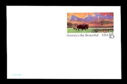 U.S. Scott # UX 120D, 1988 15c America the Beautiful - Buffalo & Prairie - Mint Postal Card, DULL PAPER (See Warranty)
