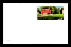 U.S. Scott # UX 198FM, 1995 20c Red Barn - Mint Postal Card, FLUORESCENT (Medium Bright) PAPER (See Warranty)