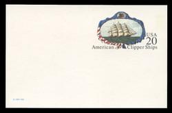 U.S. Scott # UX 220FM, 1995 20c American Clipper Ships - Mint Postal Card, FLUORESCENT (Medium Bright) PAPER (See Warranty)