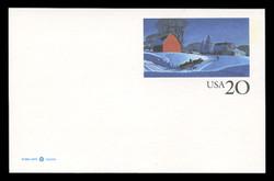 U.S. Scott # UX 241FM, 1996 20c Winter Scene - Mint Postal Card, FLUORESCENT (Medium Bright) PAPER (See Warranty)