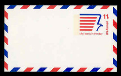 U.S. Scott # UXC 14FxH/UPSS #SA13bFxH, 1974 11c Stylized Eagle & Mail Early Message - Mint Postal Card, FLUORESCENT (High Bright) PAPER (See Warranty)
