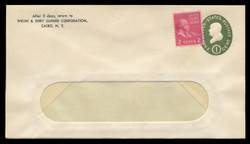 U.S. Scott # U 532/13-WINDOW, UPSS # 3279/44, 1950 1c Franklin, Die 1 - with STAMP - Mint (See Warranty)