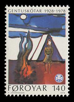 FAROE ISLANDS Scott #  41, 1978 Faroese Girl Guides - 50th Anniversary
