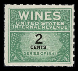 U.S. Scott #RE112, 1942 2c Wine Stamp