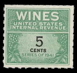 U.S. Scott #RE117, 1942 5c Wine Stamp