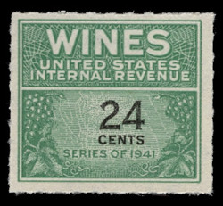 U.S. Scott #RE131, 1942 24c Wine Stamp