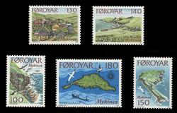 FAROE ISLANDS Scott #  31-5, 1978 Mykines Islands, Views, Scenes, Maps (Set of 5)