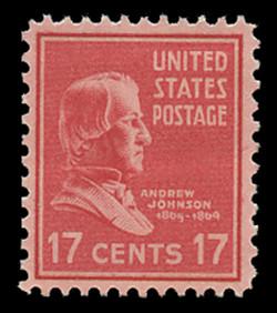 U.S. Scott # 822, 1938 17c Andrew Johnson