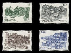 FAROE ISLANDS Scott #  59-62, 1981 Sketches of Old Torshavn (Set of 4)