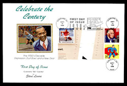 U.S. Scott #3185 32c CTC - Jesse Owens/FDR/Superman Press Sheet First Day Cover.  Steve Levine/Colorano cachet, Vertical Gutter