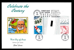 U.S. Scott #3187 33c CTC - Dr. Seuss Press Sheet First Day Cover.  Steve Levine/Colorano cachet, Vertical Gutter