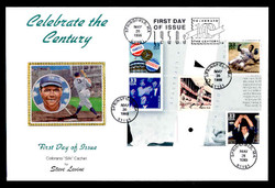 U.S. Scott #3187 33c CTC - Yankees & Dodgers/Jackie Robinson/Rocky Marciano/Babe Ruth Press Sheet First Day Cover.  Steve Levine/Colorano cachet, Vertical Gutter, SPECIAL BABE RUTH CACHET