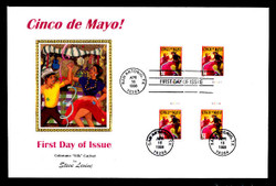 U.S. Scott #3203 32c Cinco de Mayo Press Sheet First Day Cover.  Steve Levine/Colorano cachet, Horizontal Gutter Pairs