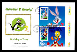 U.S. Scott #3204 32c Sylvester & Tweety & Bugs Bunny COMBO Press Sheet First Day Cover.  Steve Levine/Colorano cachet. (See Warranty)