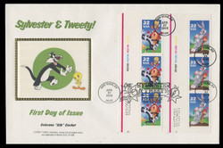 U.S. Scott #3204 32c Sylvester & Tweety & Bugs Bunny PLATE # COMBO Press Sheet First Day Cover.  Steve Levine/Colorano cachet. (See Warranty)