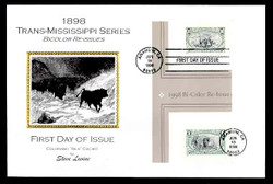 U.S. Scott #3209 Trans-Mississippi Reprints, Press Sheet First Day Covers.  Steve Levine/Colorano cachet, SET of 3 PAIRS with Horizontal Gutters (See Warranty)