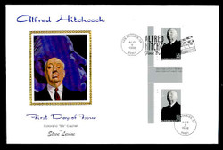 U.S. Scott #3226 Alfred Hitchcock Press Sheet First Day Cover.  Steve Levine/Colorano cachet,  PLATE # PAIR with Horizontal Gutter (See Warranty)