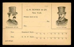C.H. Tenney Hat Company Advertising Postal Card (On Scott #UX10) - as First Day Cover - Est. period of use, 1890s. (See Warranty)