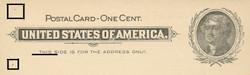 U.S. Scott # UX  14, 1897 1c Thomas Jefferson, black on buff, VARIETY 6 - MINT FACE Postal Card (See Warranty)