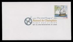 U.S. Scott #4073, 2006 39c Samuel de Champlain First Day Cover.  Digital Colorized Postmark