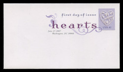 U.S. Scott #4151, 2007 41c Love Hearts - Lilac Background First Day Cover.  Digital Colorized Postmark