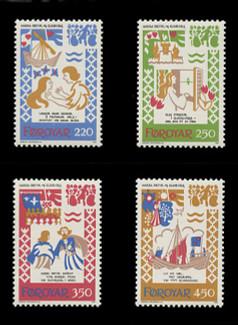 FAROE ISLANDS Scott #  86-9, 1982 Scenes from Medieval Ballad (Set of 4)