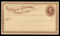 U.S. Scott # UX   1, 1873 1c Liberty Head, brown on buff with Large Watermark - Mint Face Postal Card