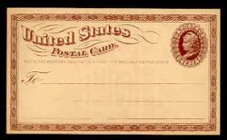 U.S. Scott # UX   3, 1873 1c Liberty Head, brown on buff with Small Watermark - Mint Face Postal Card