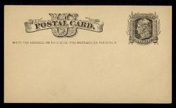 """U.S. Scott # UX   5, 1875 1c Liberty Head, black on buff - """"Write the Address"""" - Mint Face Postal Card"""