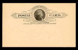 U.S. Scott # UX   9, 1886 1c Thomas Jefferson, black on buff - Mint Face Postal Card