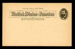 U.S. Scott # UX  10T2, 1891 1c Ulysses S. Grant, black on buff, Type II - Mint Face Postal Card (See Warranty)