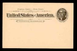 U.S. Scott # UX  12, 1894 1c Thomas Jefferson, black on buff - Mint Face Postal Card