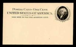 U.S. Scott # UX  15, 1898 1c John Adams, black on buff - Mint Face Postal Card