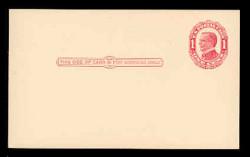 U.S. Scott # UX  24, 1910 1c William McKinley, NO Background Lines, red on cream - Mint Face Postal Card