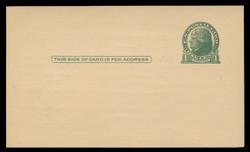 U.S. Scott # UX  27, 1914 1c Thomas Jefferson, green on buff - Mint Face Postal Card