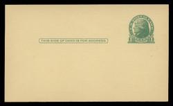U.S. Scott # UX  27CAN/UPSS # S37EC, 1914 1c Thomas Jefferson, green on canary - Mint Face Postal Card